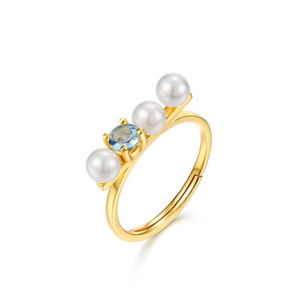 4mm Pearl/Topaz Adjustable Silver Wedding Ring